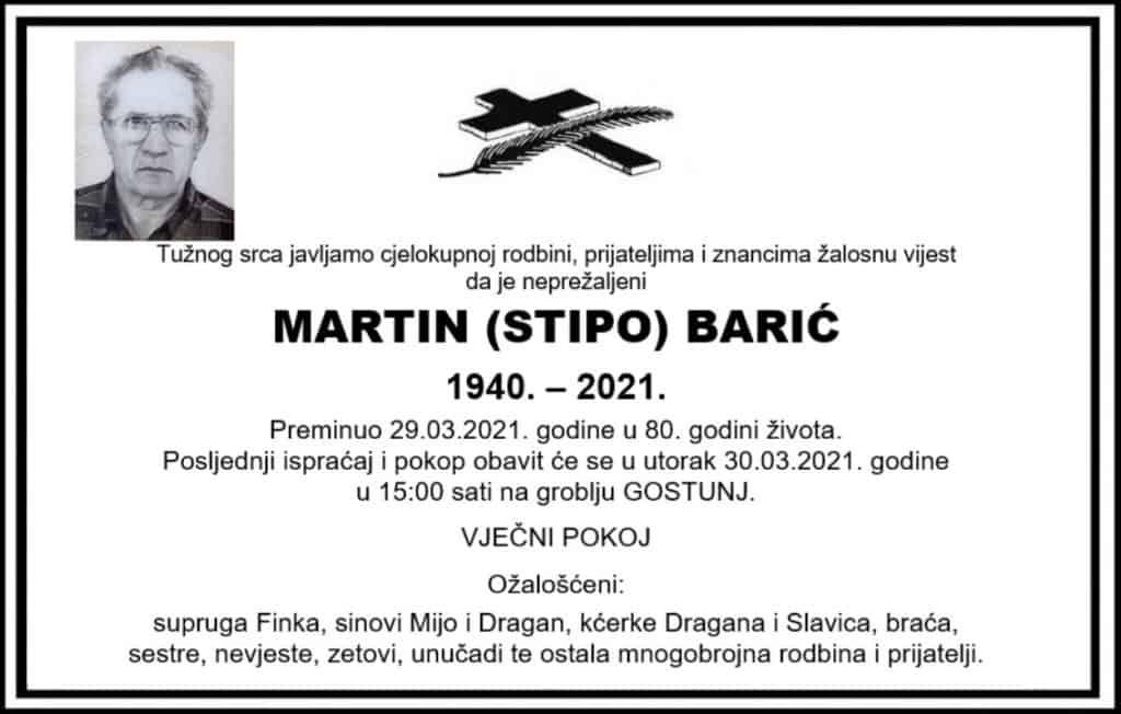 Preminuo Martin Barić