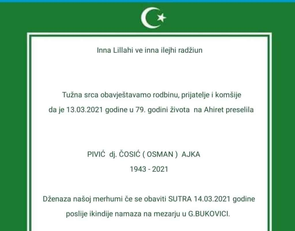 Preminula Pivić Ajka