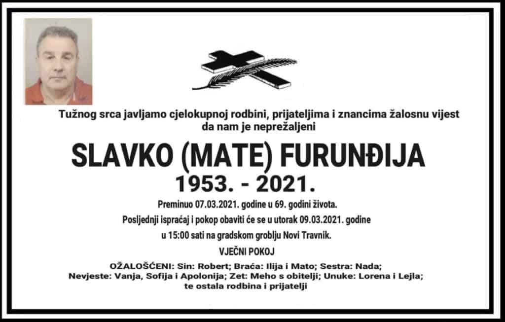 Preminuo Slavko Furunđija