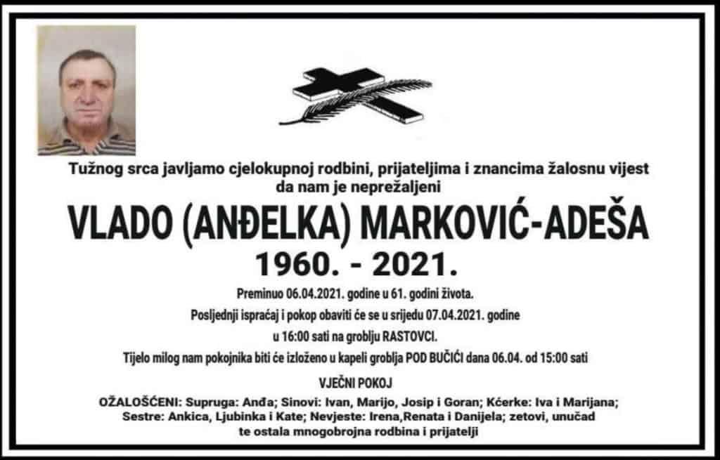 Preminuo Vlado Marković-Adeša