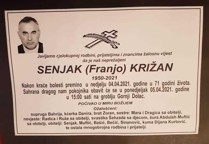 Preminuo Križan Senjak