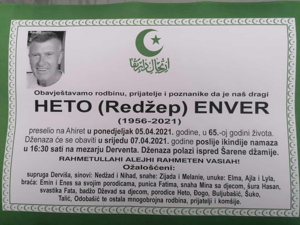 Preminuo Heto Enver