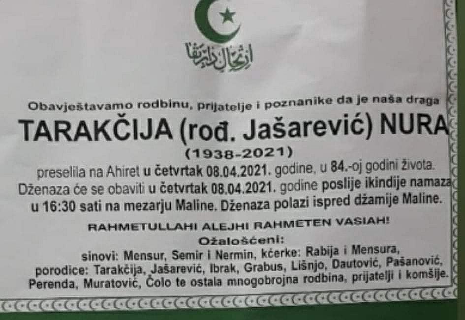 Preminula Tarakčija Nura