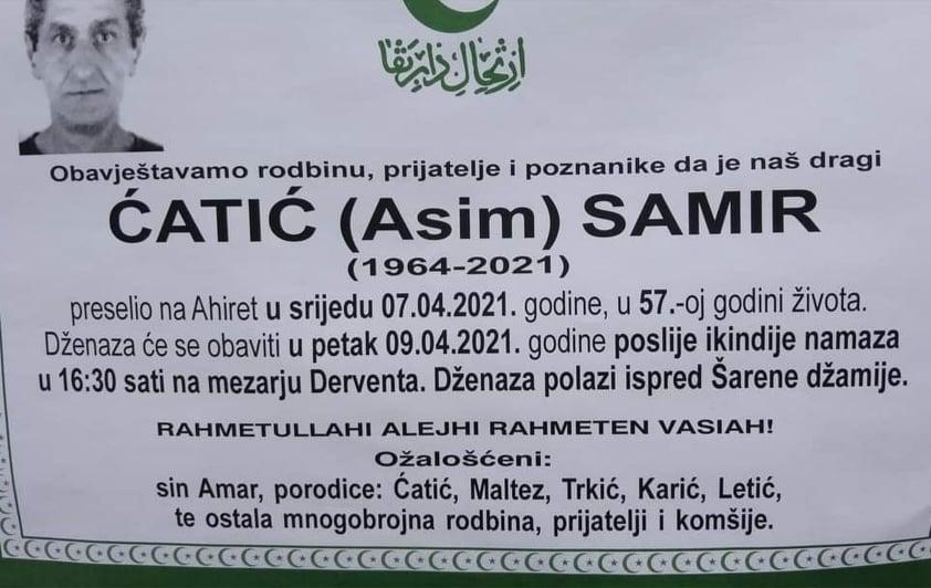 Preminuo Ćatić Samir