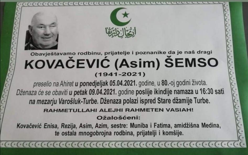 Preminuo Kovačević Šemso