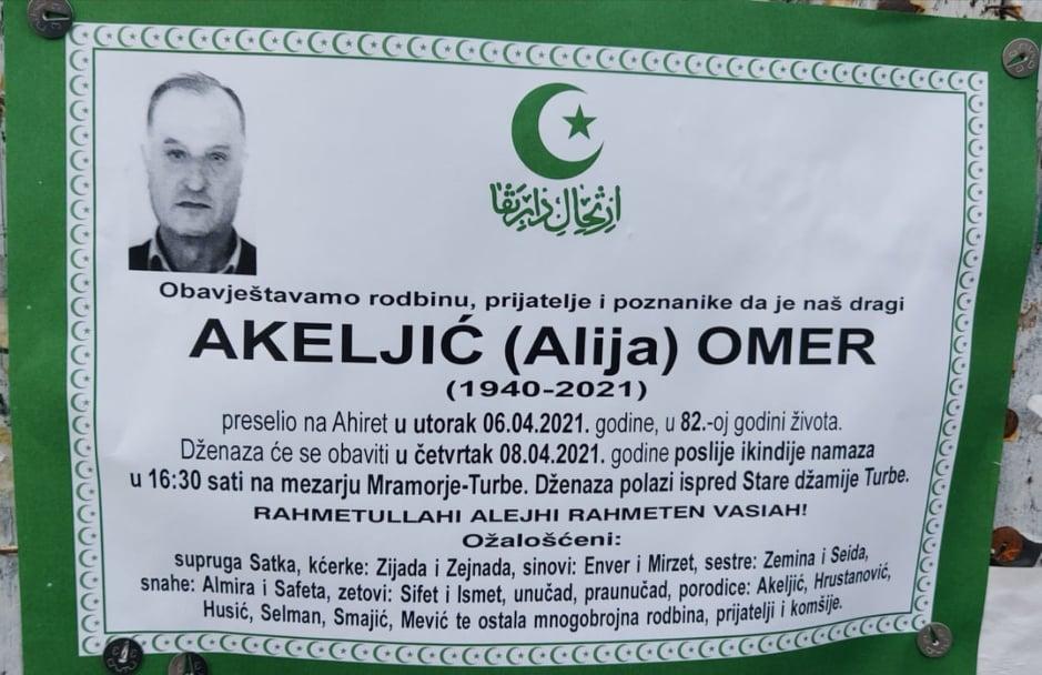 Preminuo Omer Akeljić