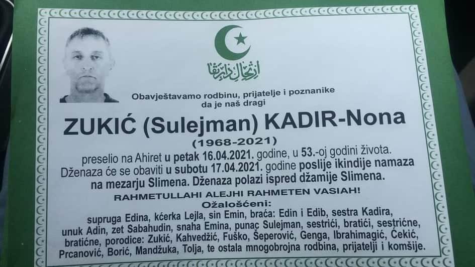 Preminuo Zukić Kadir