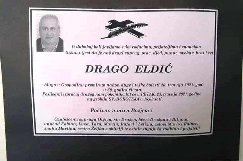 Preminuo Drago Eldić