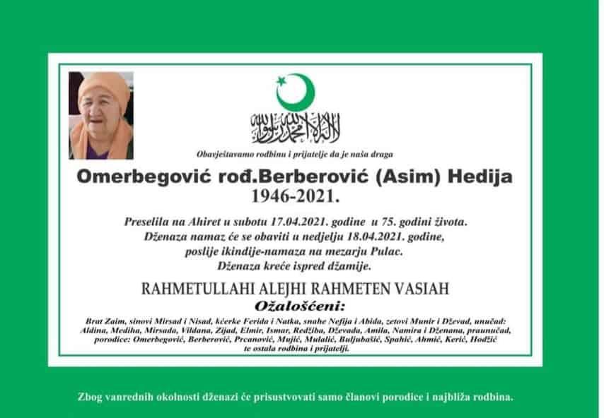 Preminula Omerbegović Hedija