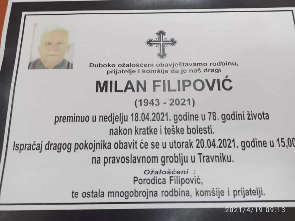 Sutra sahrana Milanu Filipoviću