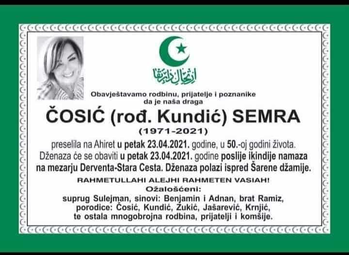 Preminula Semra Čosić
