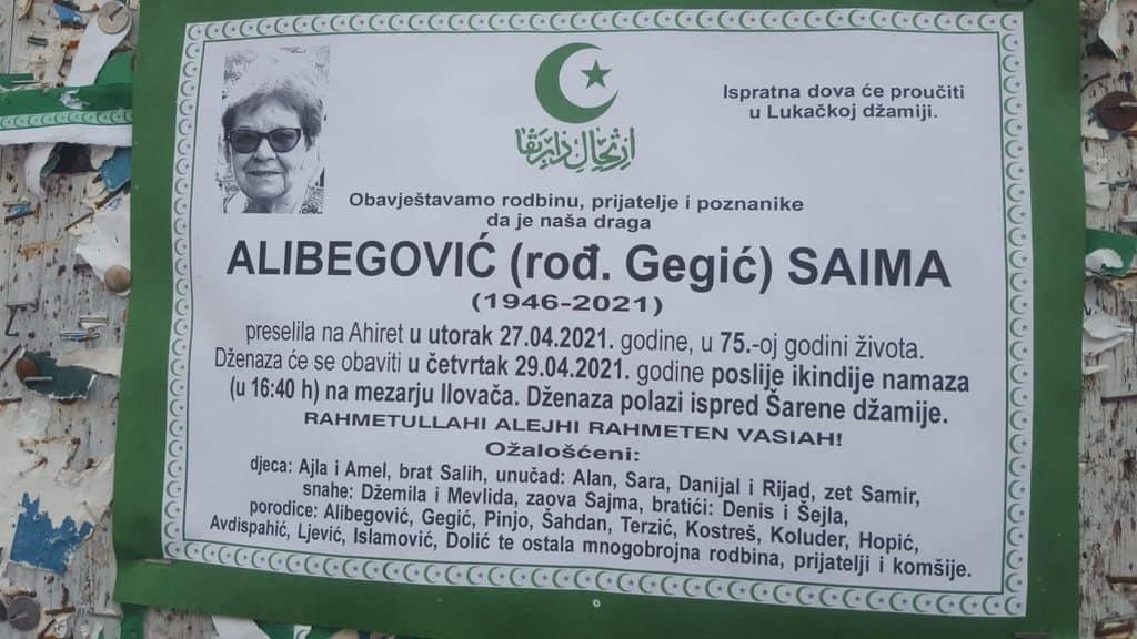 Preminula Saima Alibegović