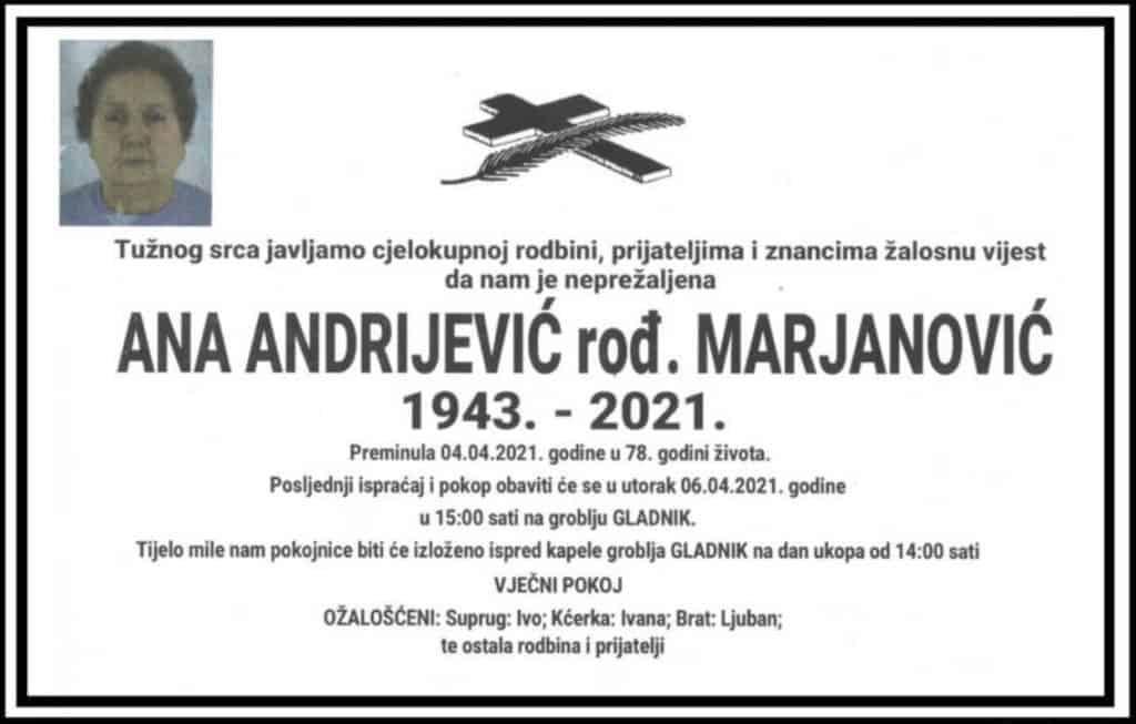Preminula Ana Andrijević