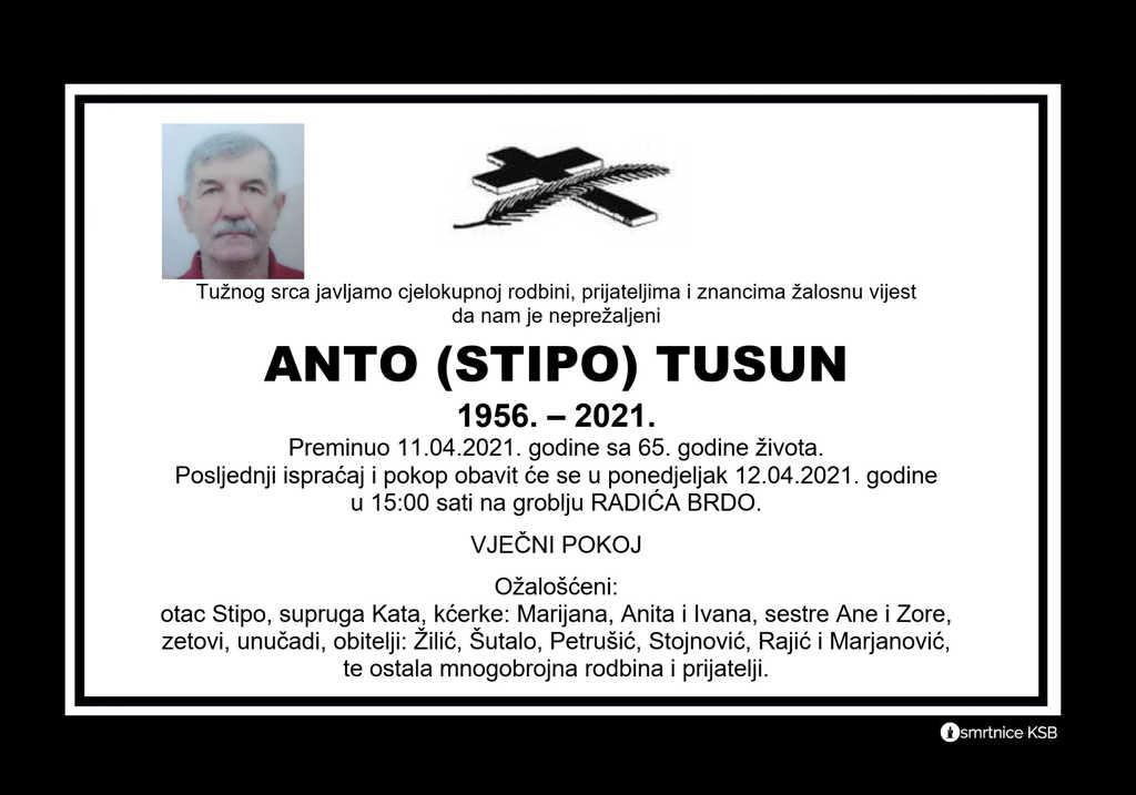 Preminuo Anto Tusun