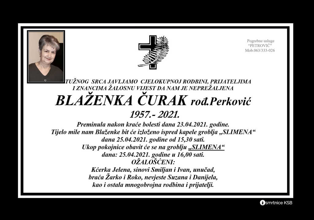 Preminula Blaženka Čurak