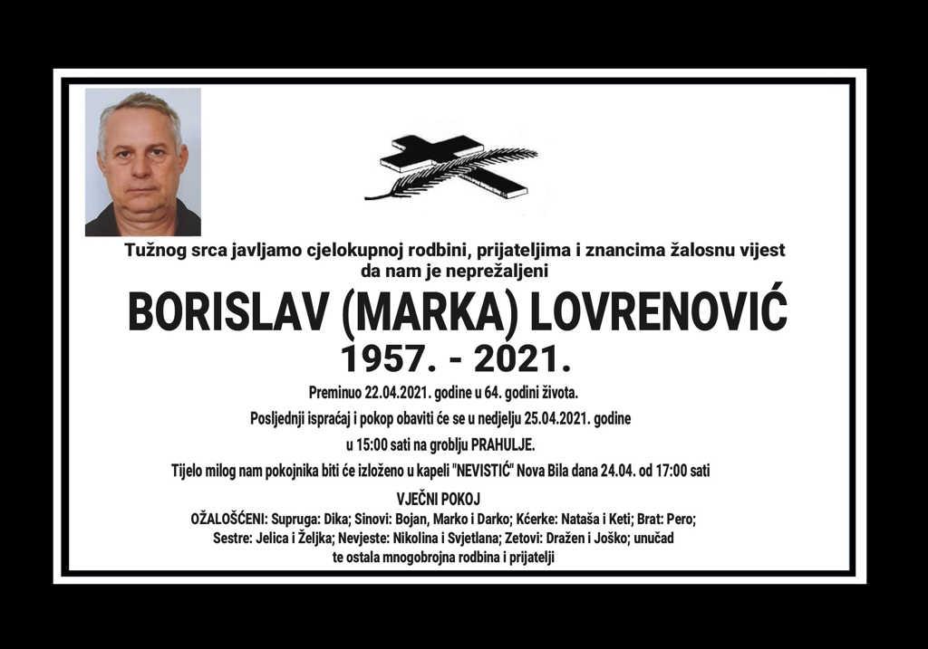 Preminuo Borislav Lovrenović