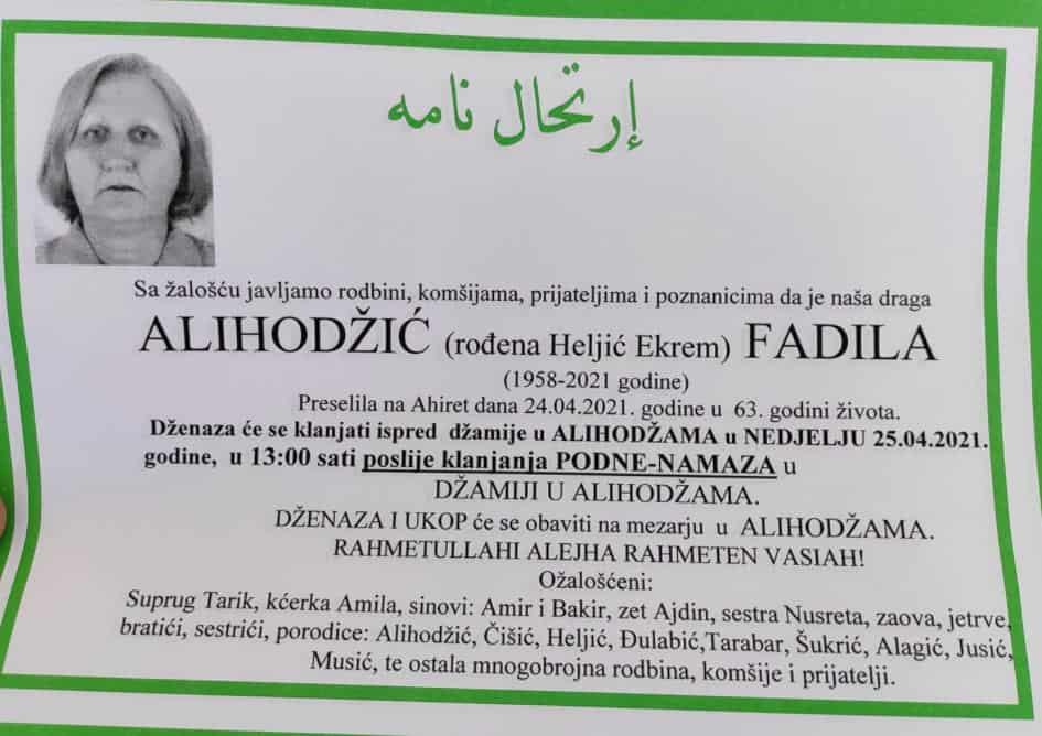 Preminula Alihodžić Fadila