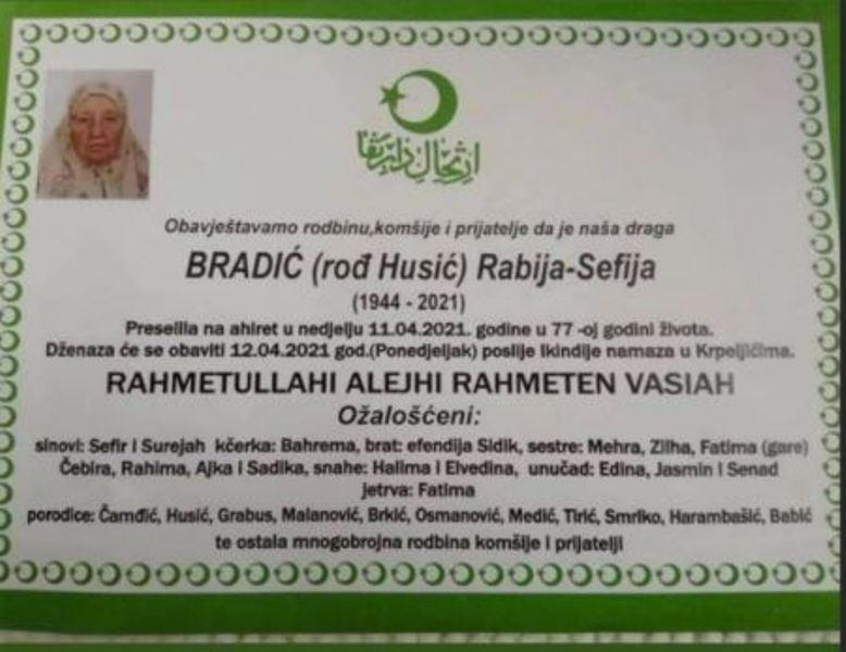 Preminula Bradić Rabija-Sefija