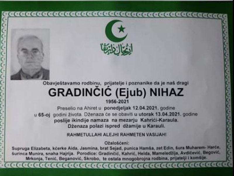 Preminuo Gradinčić Nihaz