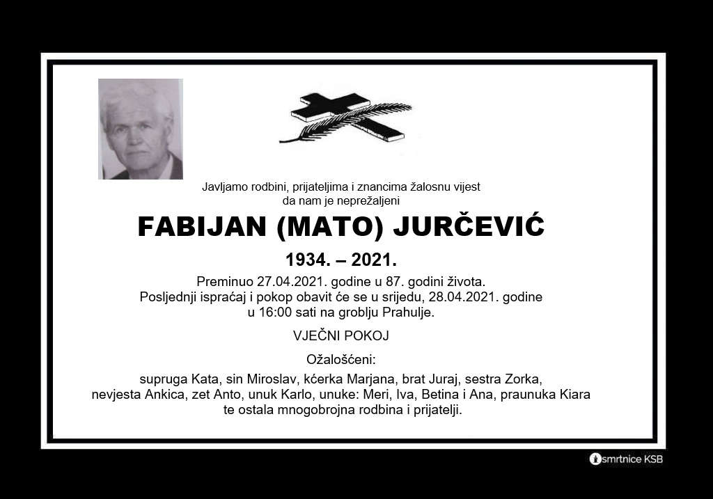 Preminuo Fabijan Jurčević