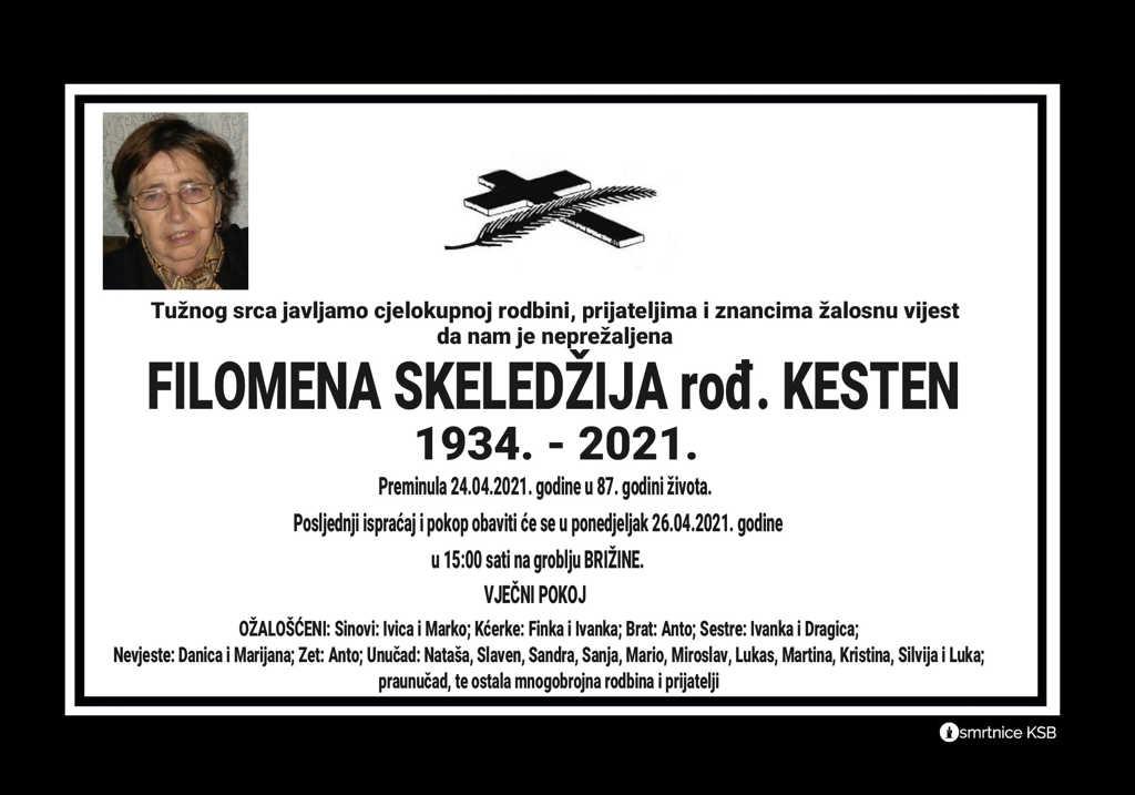 Preminula Filomena Skeledžija
