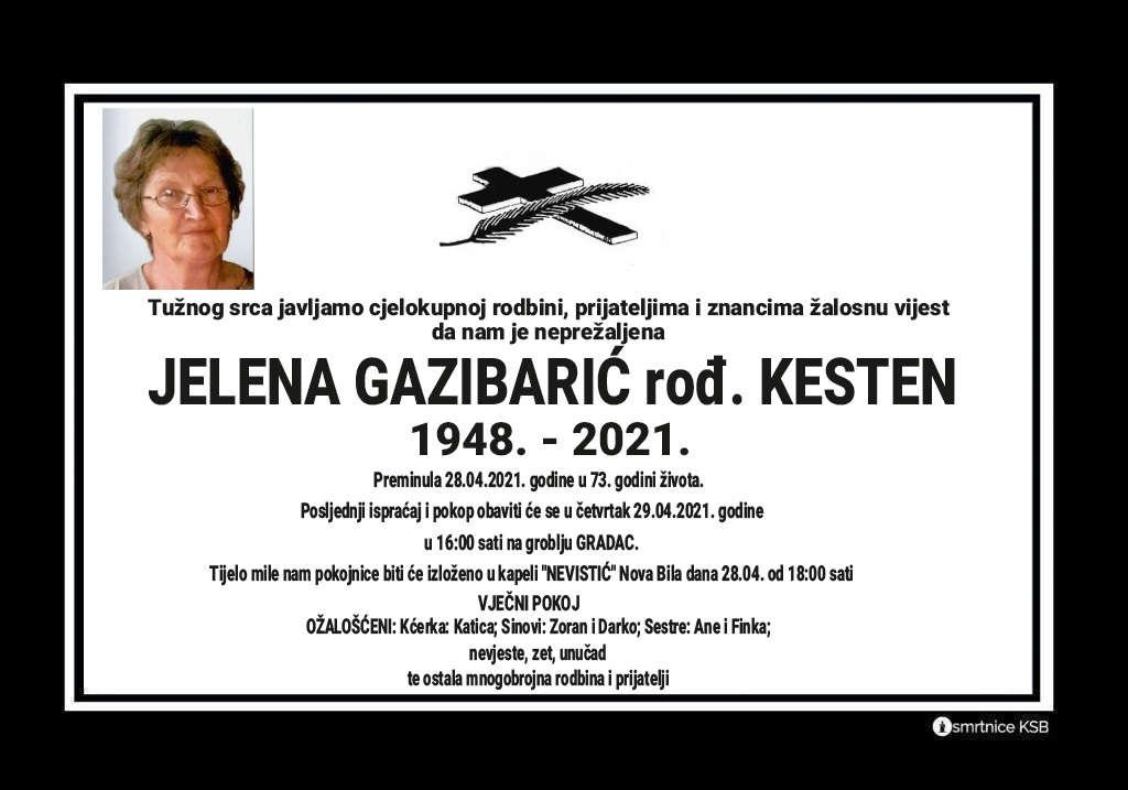 Preminula Jelena Gazibarić