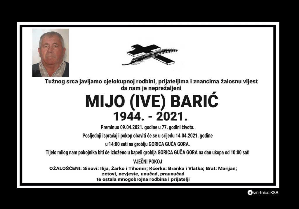 Preminuo Mijo Barić