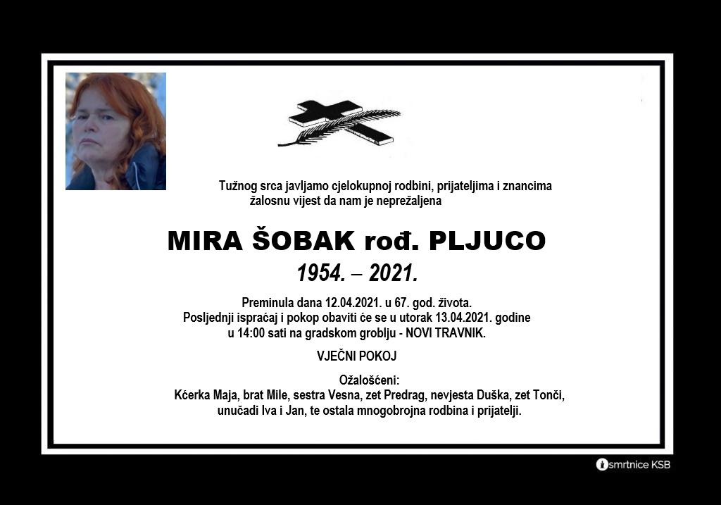 Preminula Mira Šobak