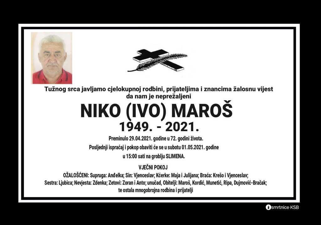 Preminuo Niko Maroš