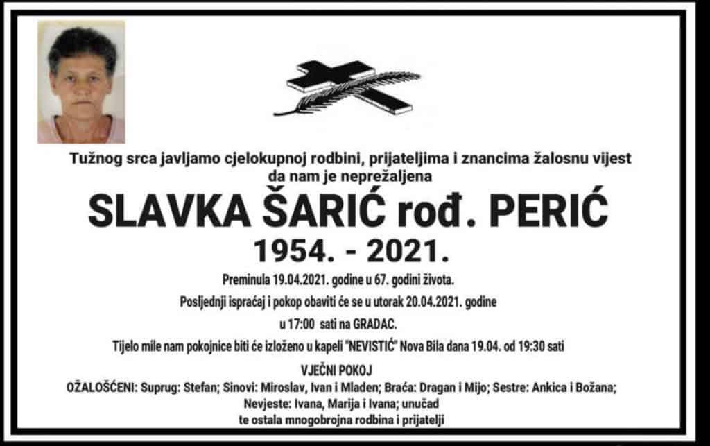 Preminula Slavka Šarić