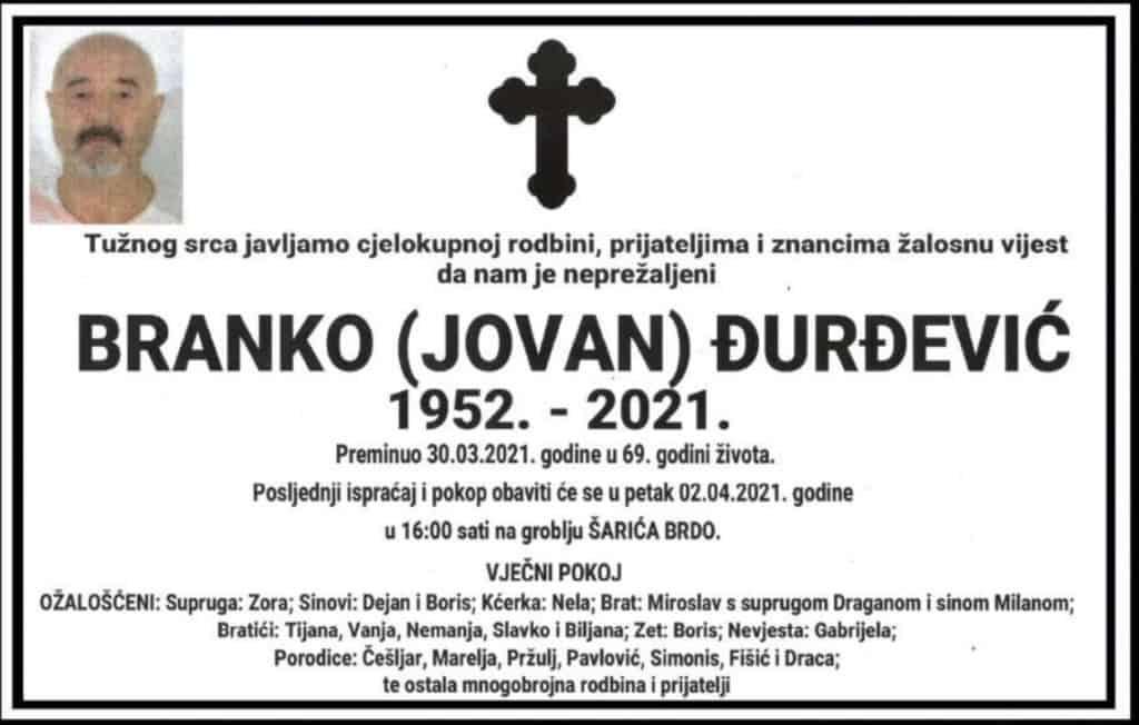 Preminuo Branko Đurđević