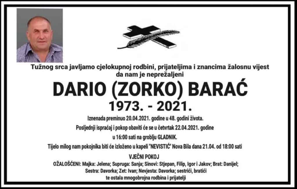 Preminuo Dario Barać
