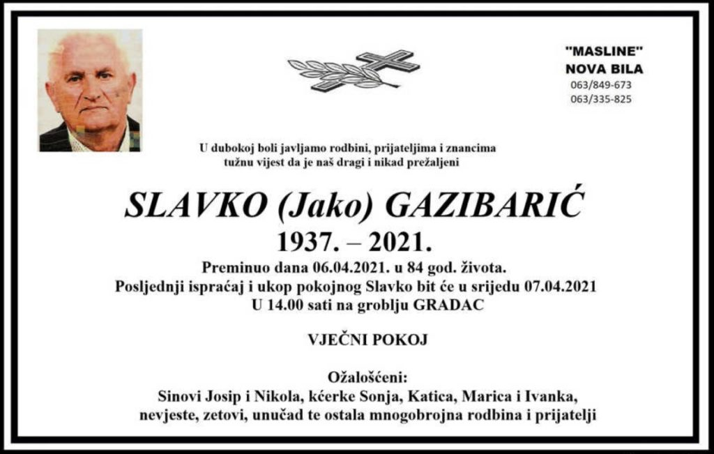 Preminuo Slavko Gazibarić