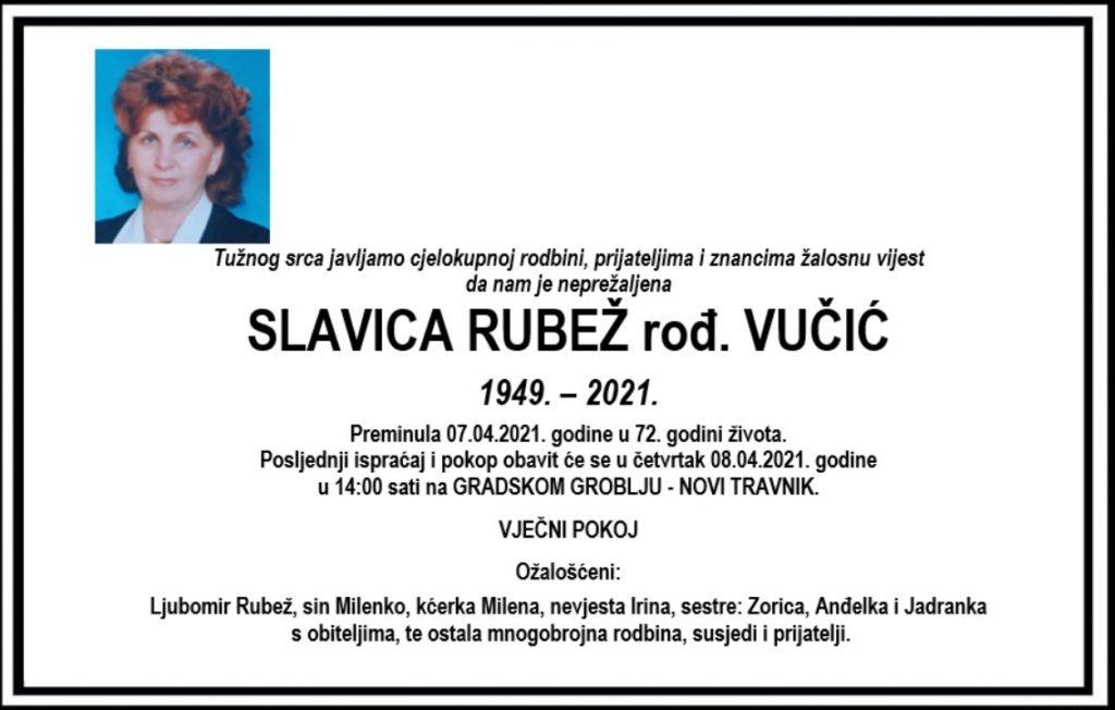 Preminula Slavica Rubež