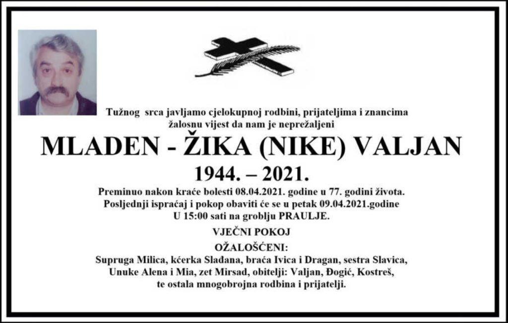 Preminuo Mladen-Žika Valjan