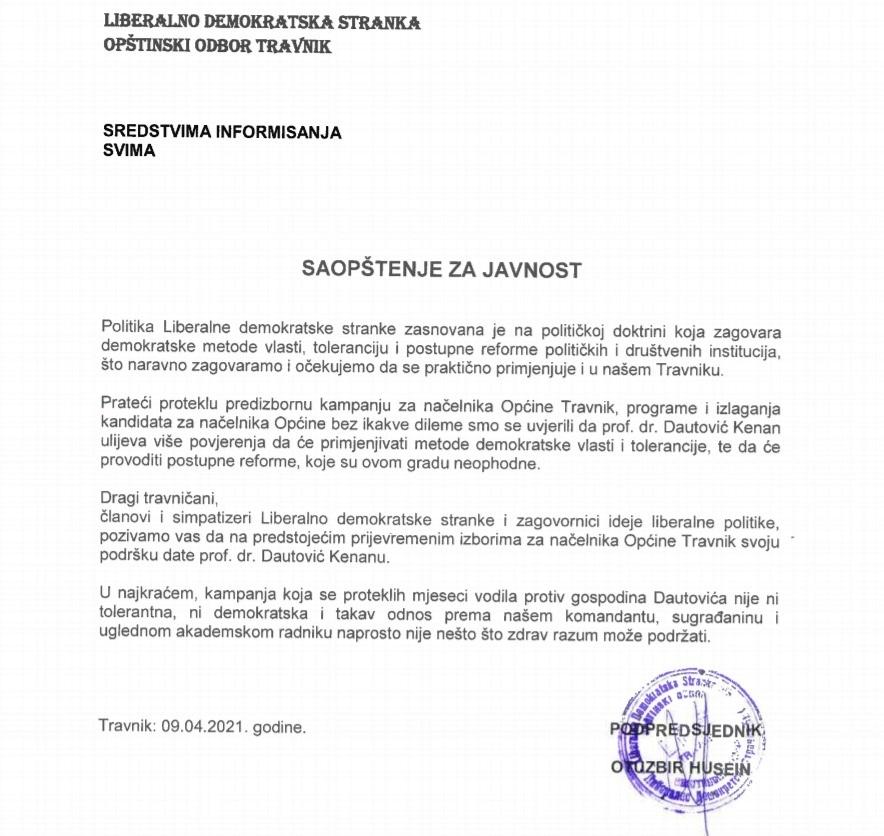 Saopštenje Liberalno demokratske stranke Travnik