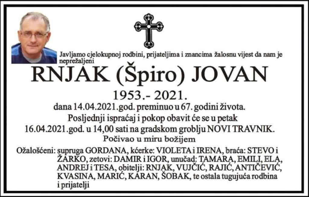 Preminuo Jovan Rnjak