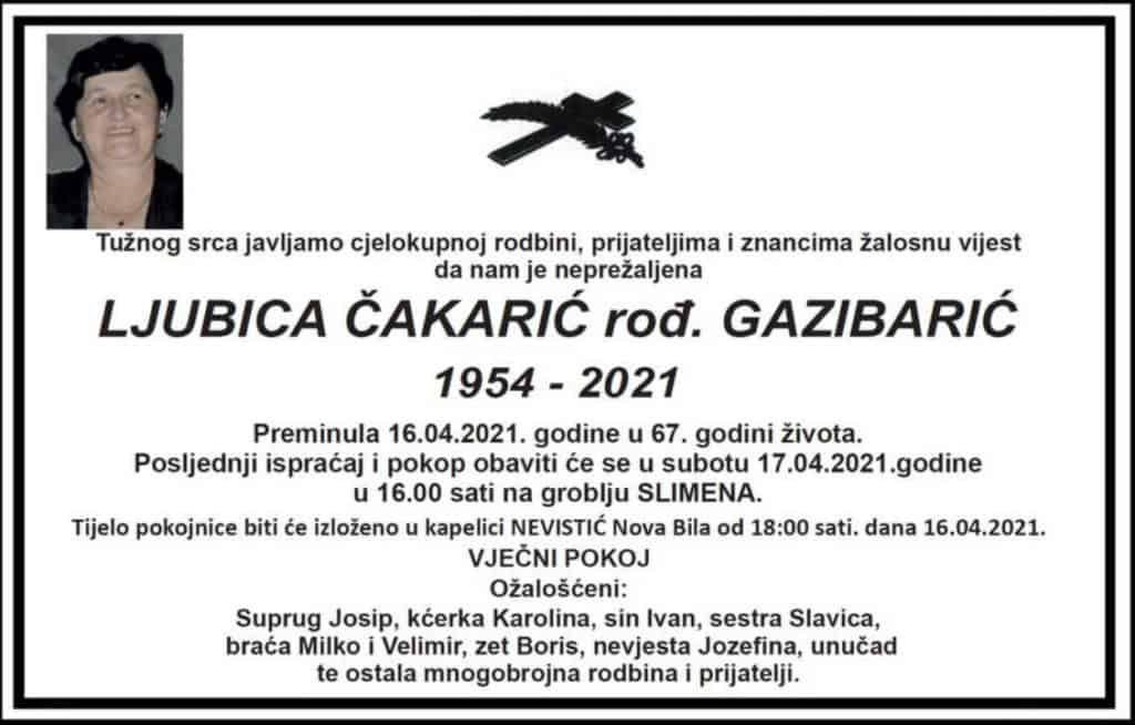 Preminula Ljubica Čakarić
