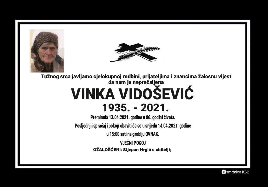 Preminula Vinka Vidošević