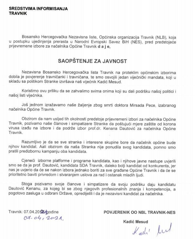 Saopštenje za javnost iz Nezavisne bosanskohercegovačke liste Travnik