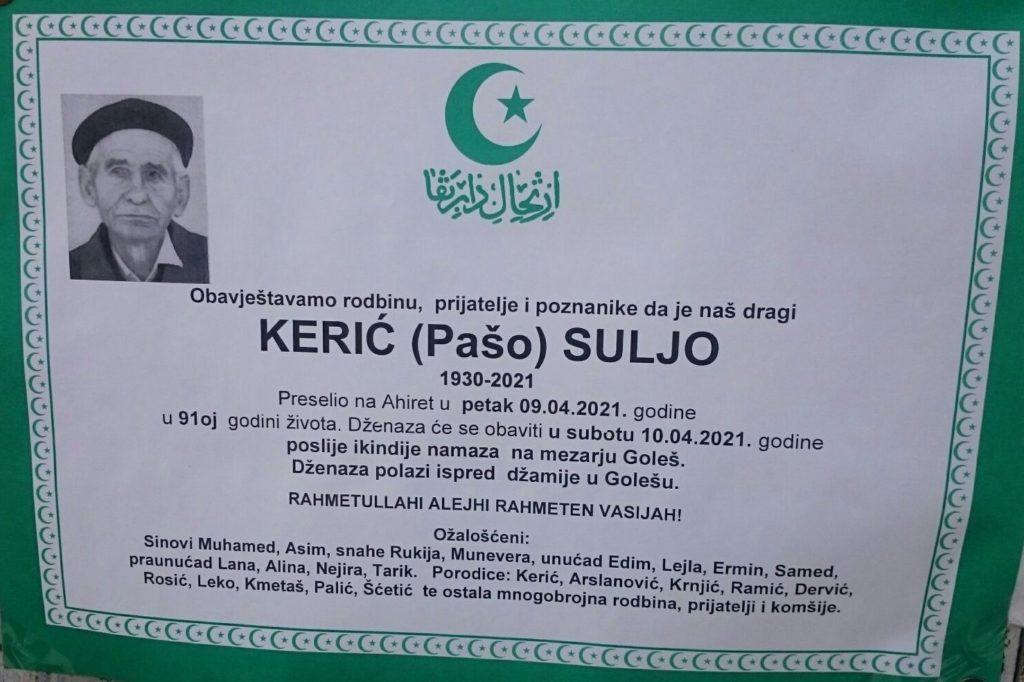 Preminuo je Kerić Suljo
