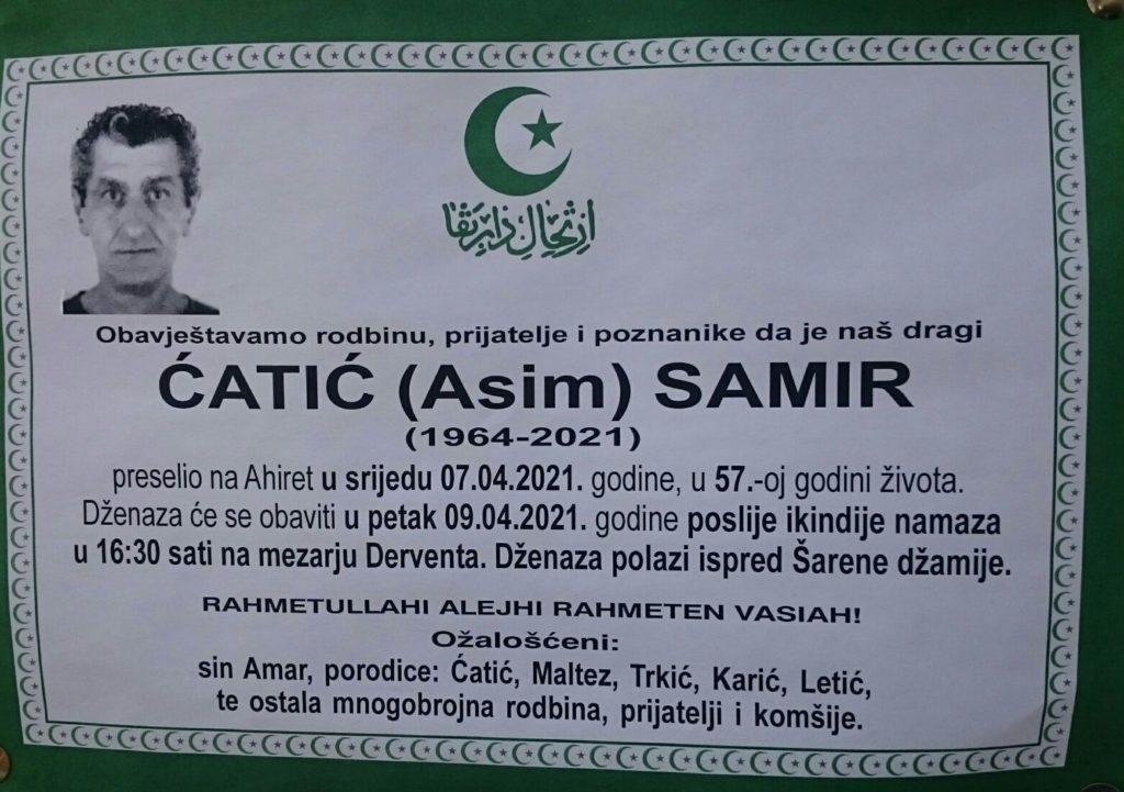 Preminuo je Ćatić Samir