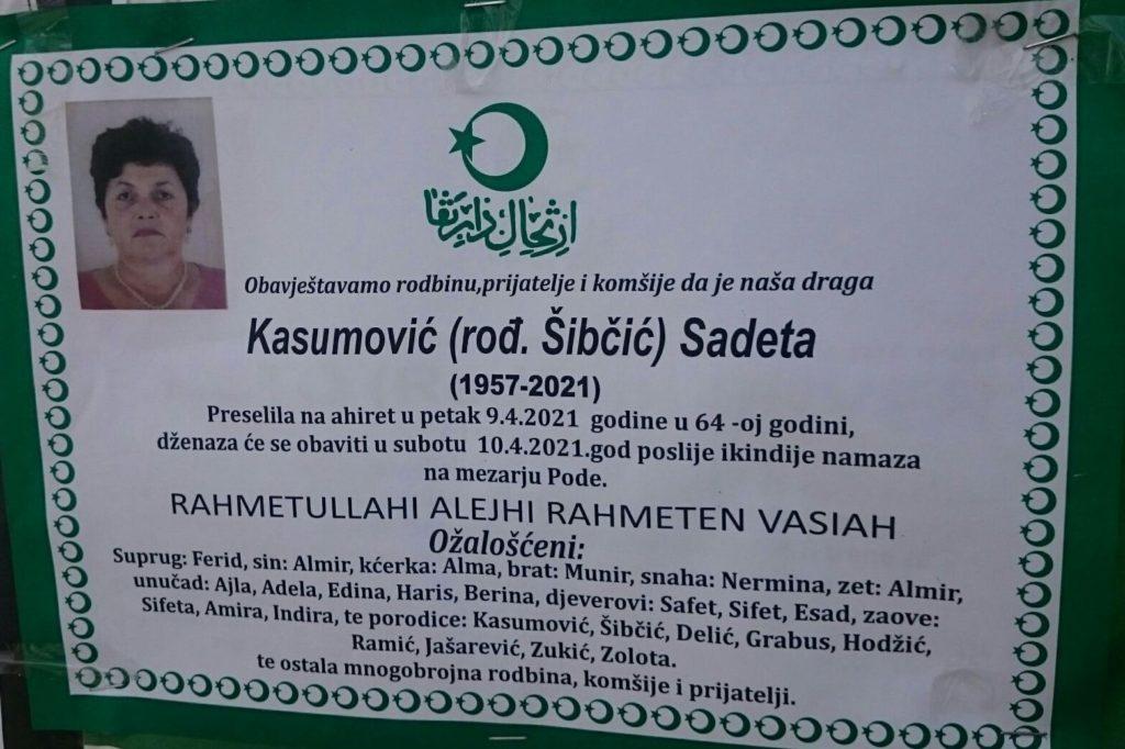 Preminula je Kasumović Sadeta