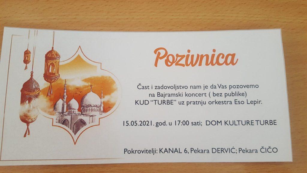 "U subotu Bajramski koncert KUD-a ""Turbe"""