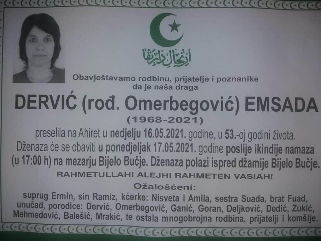 Preminula Dervić Emsada
