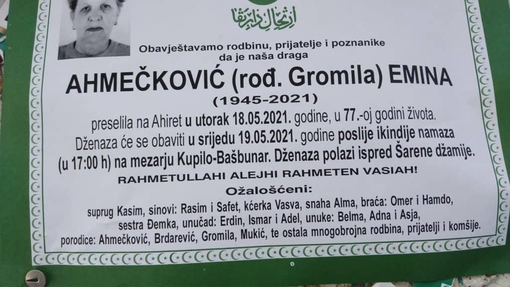 Preminula Emina Ahmečković