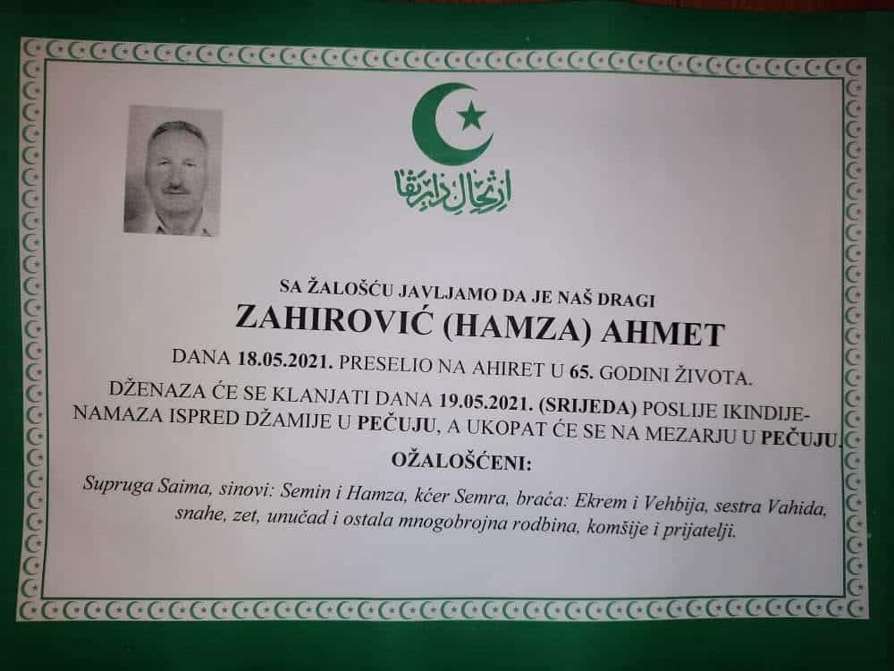 Preminuo Zahirović Ahmet