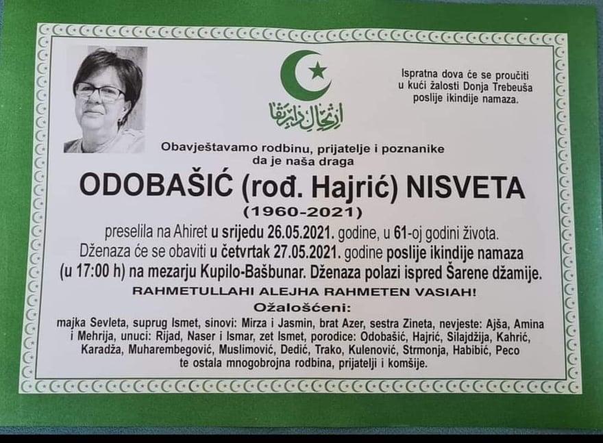 Preminula Nisveta Odobašić