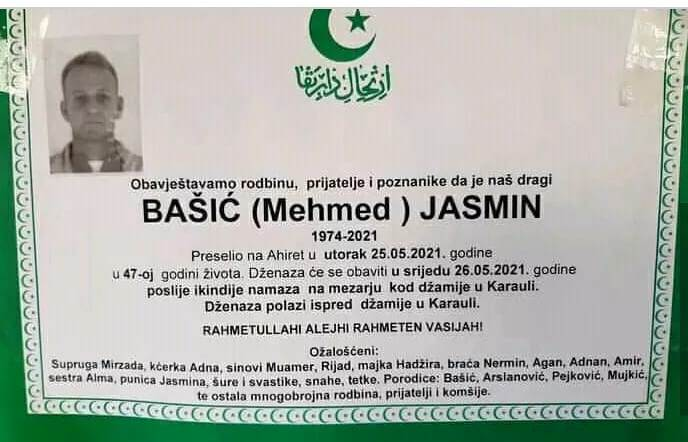 Preminuo Bašić Jasmin