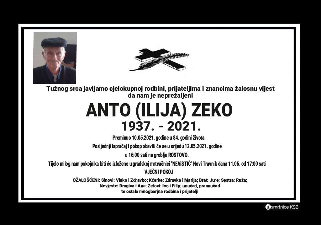 Preminuo Anto Zeko